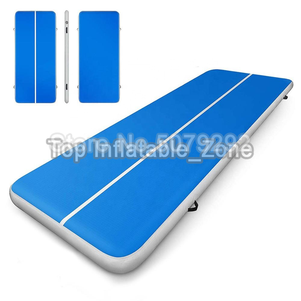 Free Pump ! Blue Inflatable Gym Mat For Training Waterproof Yoga Mat For Home Use DWF Material 4M Air Track Air Floor Tumble Mat