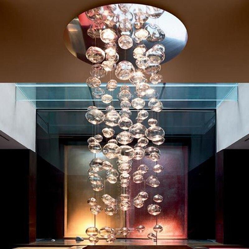 Современные светодиодные Стекло шар люстра Bubble Дизайн Гостиная Ресторан подвесной светильник Спальня Droplight отель Освещение приспособлени