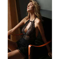 sexy mousse evening wear sexy night gowns with thong sets halter backless mesh lace fabric wedding use young girl new