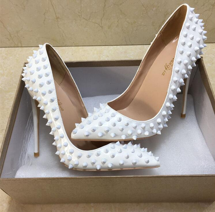 NEW Pointed Toe Thin High Heels Sexy White Rivets Spike Women Party Shoes Classical Fashion Studs Lady Party Wedding Shoes