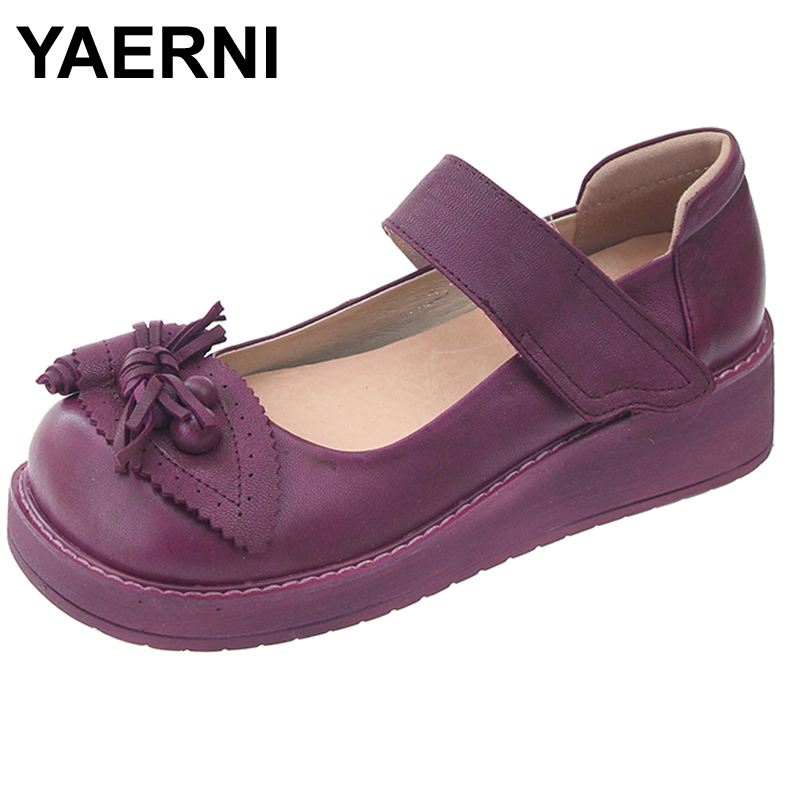 YAERNI 2017 Retro Style Women Shoes Flats Platform Handmade Flower Genuine Leather Thick Heels Round Toe Women Causal Shoes anckle strip women thick heels sandals closed toe flower ethnic style handmade genuine leather personalized women sandal