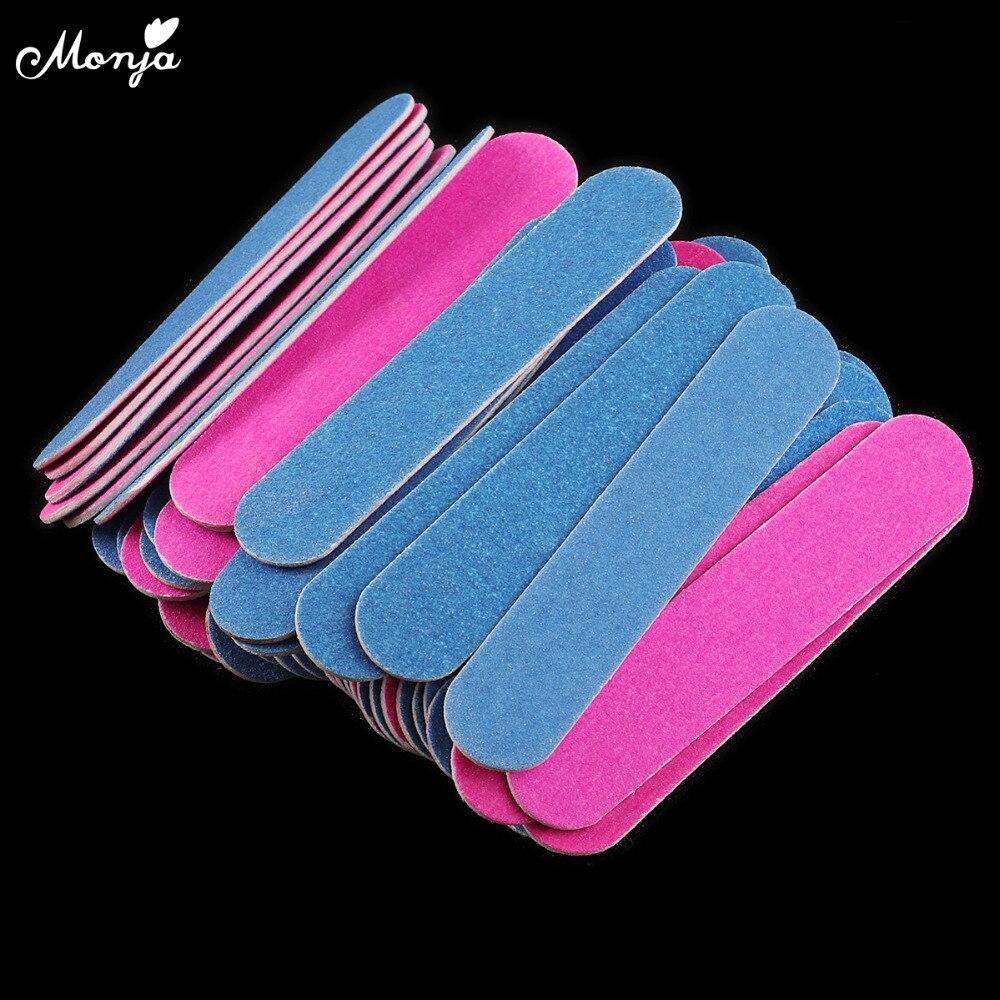 Monja 50pcs/set Multi Color Nail Art Double Sided 100/180 Grit Polishing Shaping Sanding File Sand Paper Nail Care Manicure Tool