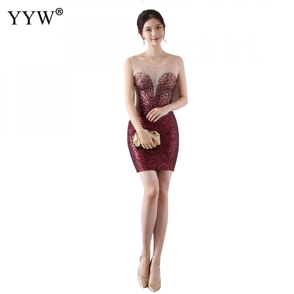 Elegant Sequined Evening Party Dress Women Sleeveless Mesh Sexy Cocktail Dresses Slim Fashionable Graduation Birthday Prom Gowns