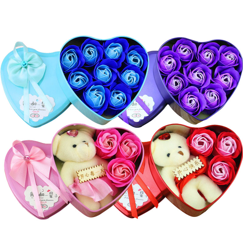Simulation-Bouquet Roses-Ornaments Christmas-Gifts Heart-Shaped Home-Decoration Wedding