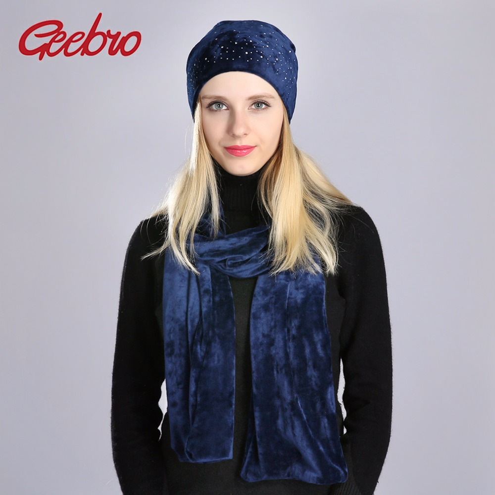 Geebro 2 PCS Women's Beanies Hat And Scarf Winter Casual Warm Velvet Scarf For Women Ladies 100% Polyester Beanie Hat DQ083