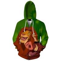 Cloudstyle 2017 Men 3D Zipper Hoodies Longsleeve Crewneck Hooded Jacket Fashion Anime Red Lion 3D Cartoon