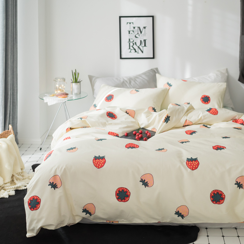 Bedding 2018 Cute Strawberry Fruits Bedding Set Cotton Fabric 3/4pcs Twin Queen King Size Duvet Cover Flat Sheet Pillow Cases