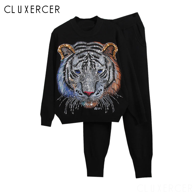 Spring Autumn 2 Piece Set For Women 3D Tiger Beading SweaterShirt Pants Suit Tracksuit Knitted Sprotswear Outfit in Women 39 s Sets from Women 39 s Clothing