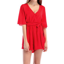 b0b94b916b5 Sexy V-neck Loose Half Sleeves Jumpsuit Short Rompers Womens Sashes  Playsuits Fashion 2018 Summer Beach Jumpsuit Red Green