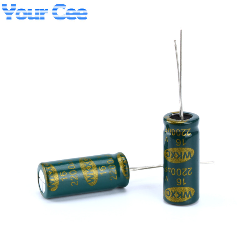 10 Pcs Electrolytic Capacitors High Frequency 16V 2200UF 10X20MM Aluminum Electrolytic Capacitor