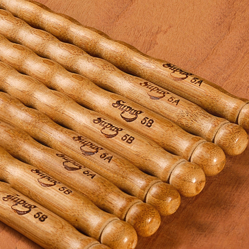 1 Pairs Wavy Pattern Bamboo Drumsticks 5A / 5B / 6A Drum Stick Durable Practical Drum Sticks