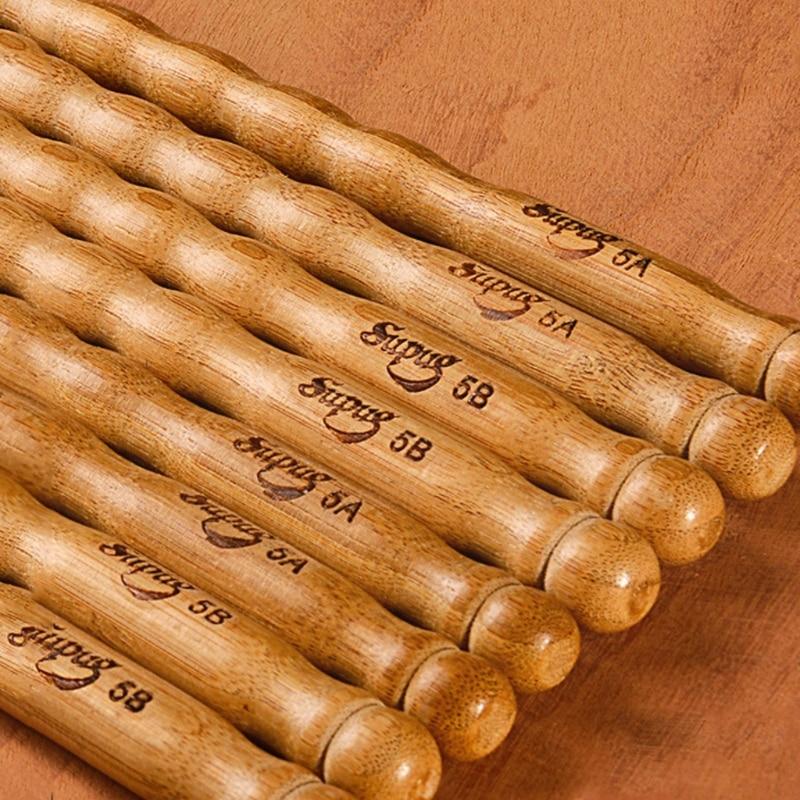 1 Pairs Wavy Pattern Bamboo Drumsticks 5A / 5B / 6A Drum Stick Durable Practical Drum Sticks