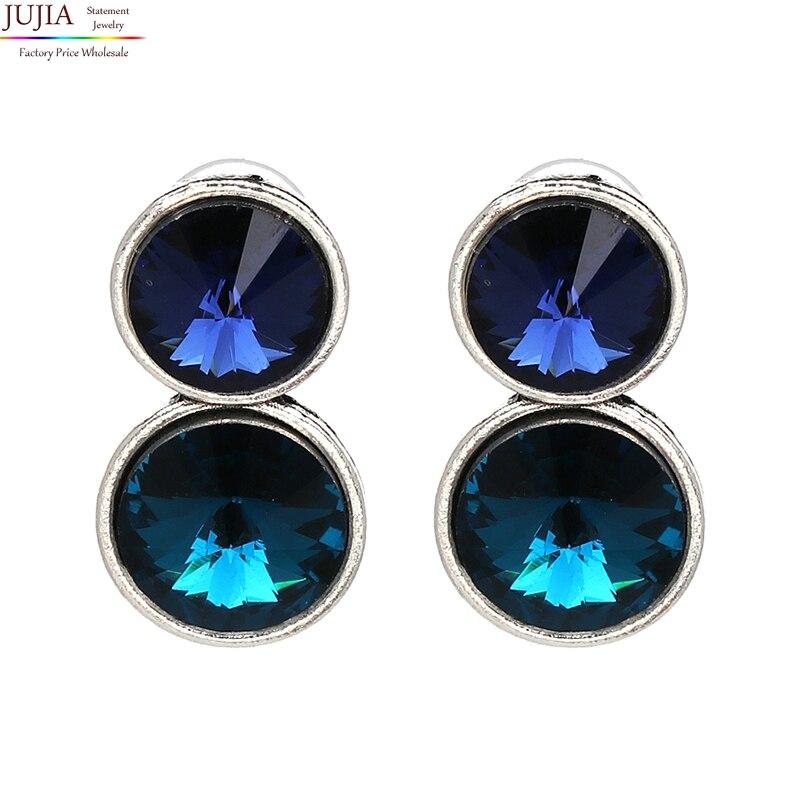JUJIA simple crystal earrings fashion women statement blue crystal Earrings for women lady girl party stud earring wholesale