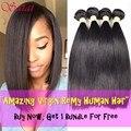 Queen Hair Products Brazilian Virgin Hair Straight 4 Bundles 100% Unprocessed Brazilian Straight Hair Top Human Hair Extensions