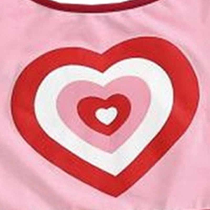 2018 קיץ חדש ורוד אהבת לב הדפסת Slim הדוק ספגטי רצועת הלטר ללא משענת Camis יבול חולצות אופנה גבירותיי קצר Camis טי