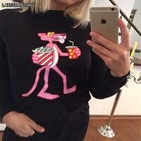 LAISIDANTON Cute Pink Panther Printed Hoodies Sweatshirt Women 2018 Spring Bts Unicorn Hoodies Long Sleeve Cartoon
