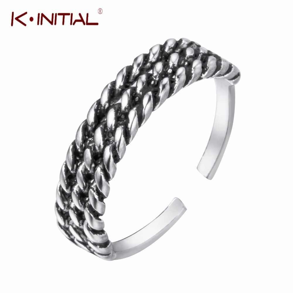 Kinitial Vintage 925 Sterling Silver Simple Black Rings Three Layers Ring For Women Gift Open Sterling Silver Jewelry Bijoux