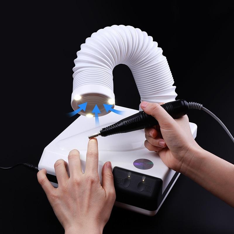 OLOEY nouveau 60 W forte ongles dépoussiéreur salon d'ongle aspiration poussière nettoyant rétractable coude conception ventilateur aspirateur à ongles