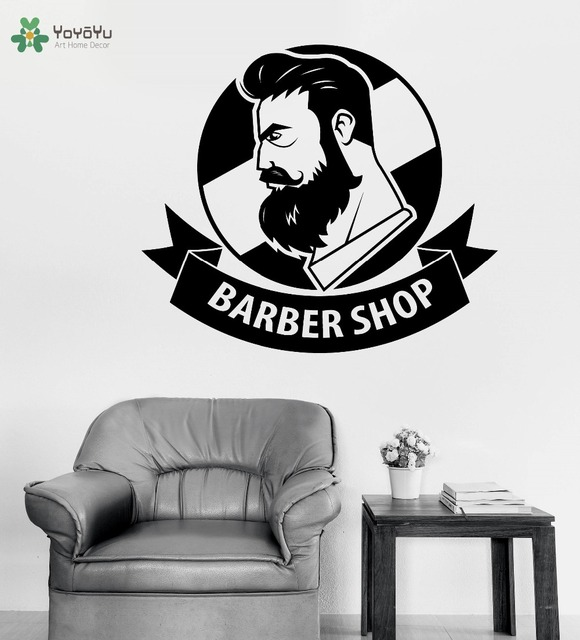 Charmant Barber Shop Logo Wall Sticekrs Man Beauty Salon Wall Decal Haircut Mustache  Removable Window Decor Art