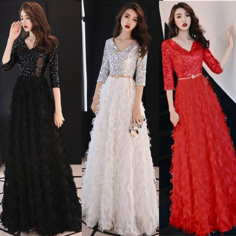 Élégant paillettes soirée robe de soirée Vestidos Verano 2019 nouvelle maille robe de piste formelle fête plume glands femme Bruiloft robe