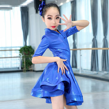 Girls purple Blue Latin dancing dress Kids Ballroom Salsa Dance wear Outfits Children's Party Stage wear costumes long sleeve
