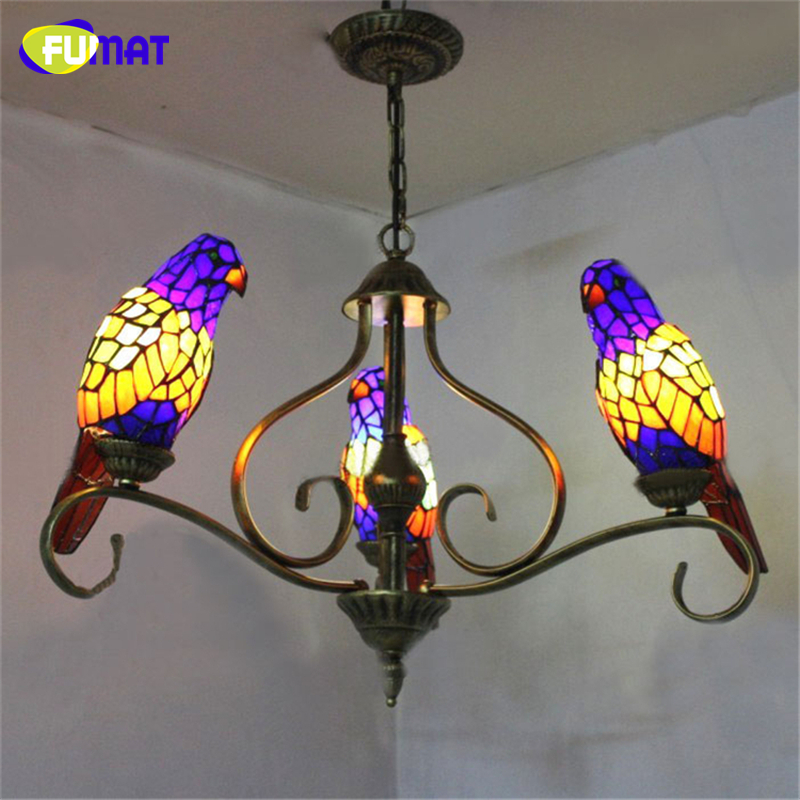 FUMAT Parrots Shape Chandelier European Vintage Glass Shade Light Dining Room Hanging Lamp Pendientes Lustre Light Fixtures