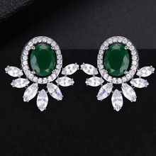 SISCATHY Trendy Full Micro Cubic Zirconia Stud Earrings For Women Geometric Wedding Bridal Party Ear Jewerlry