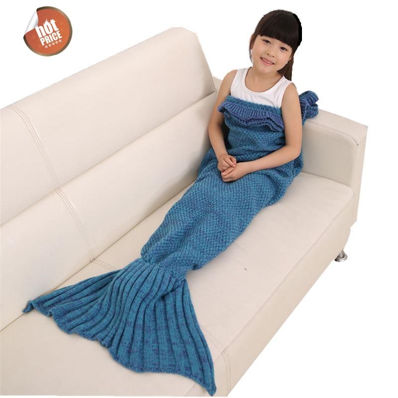 70cmx140cm Mermaid Tail Blanket Manta hecha a mano de punto de lana Fish Tail Manta de dormir Manta de viaje Para niños saco de dormir
