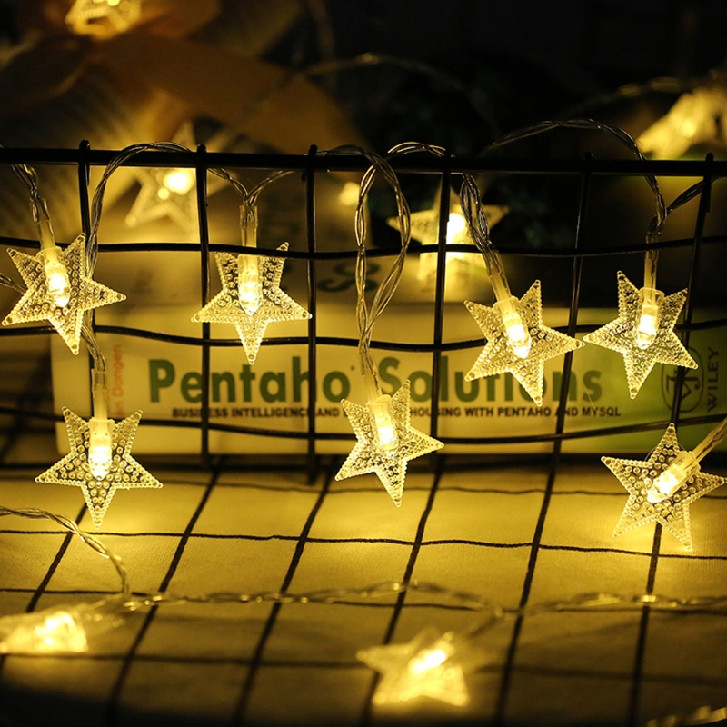 YAM 1.5m 10 LED Star Shaped String Lights Battery Powered Fairy For Party Christmas Wedding Festivals
