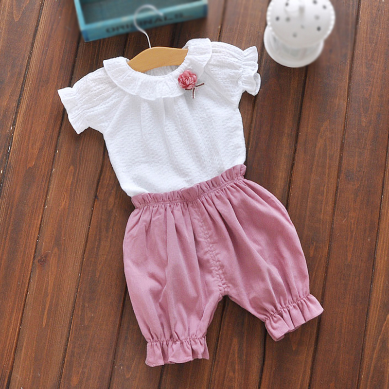 23202ec9ef2c Mouse over to zoom in. Baby set summer newborn baby girl clothes white t-shirt  pants suit 2pcs 1 year ...