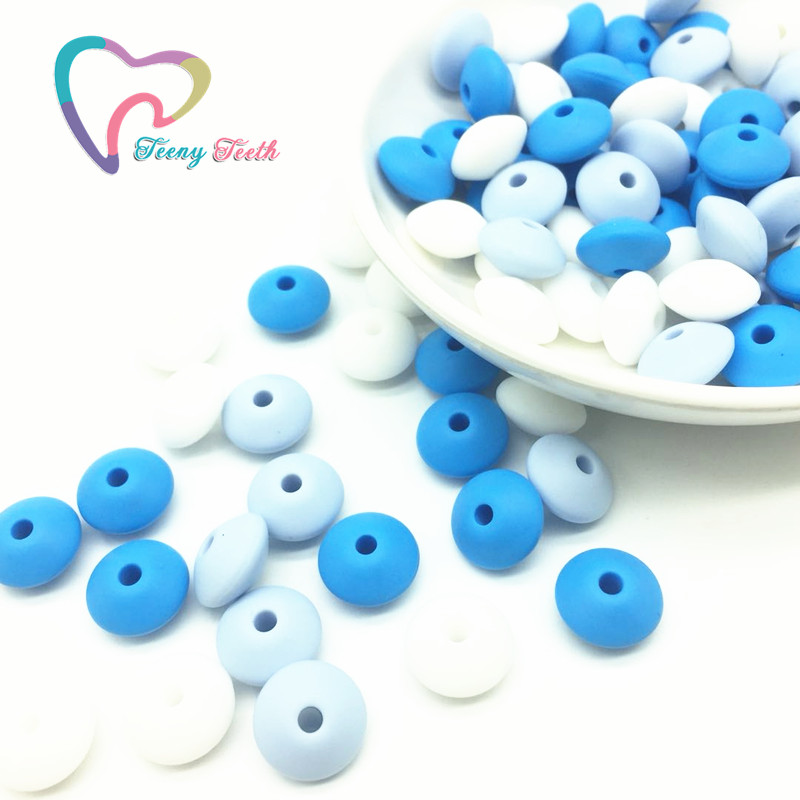 Teeny Teeth 50PCS Blue White Combo Silicone Lentil Beads Safe Teether Baby Chew Non Toxic BPA Free Abacus Silicone Teething Bead