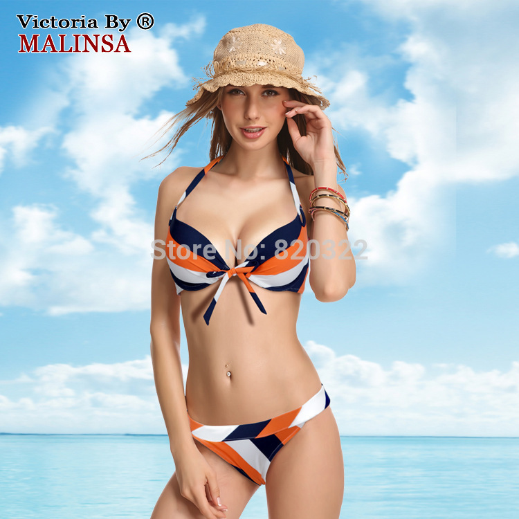 2016 NEW Swimsuit Women Bikini set Brand Push-up Bra Vintage Swimwear Low Waist Thicked Cup Black Classic Streak contrast color free shipping new classic swimsuit women s multi color bikini brand push up halter neck fashionable styles swimwear thicken cup