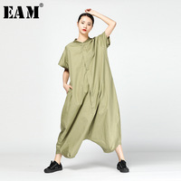 EAM 2018 New Summer Stand Collar Leisure Short Sleeve Green Brief Black Loose Big Size