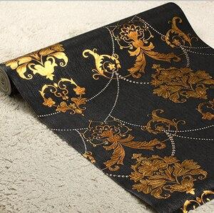 Европейская роскошная черная Золотая настенная бумага для гостиной, спальни, потолка, настенная бумага для стен, 3D ПВХ, роскошная настенная ...