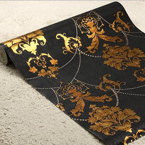 Europese Luxe Zwarte Goud Behang Woonkamer Slaapkamer