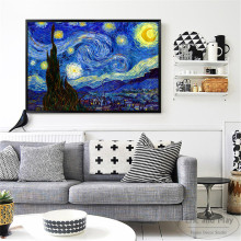 Van Gogh Starry Night Classic Art Posters And Prints Wall Canvas Painting For Living Room Decoration Home Decor Unframed