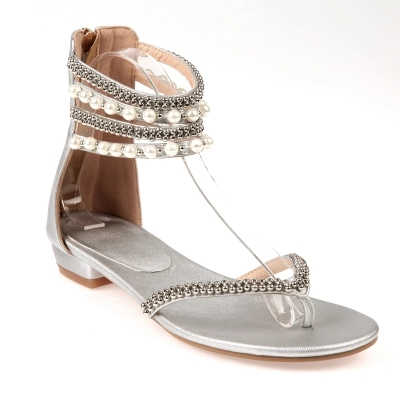 ФОТО Rome Style Flat Heel Sandals For Women Summer Shoes Beadings Flip Flop Women Sandal Gladiator Sandals Chaussures Femme