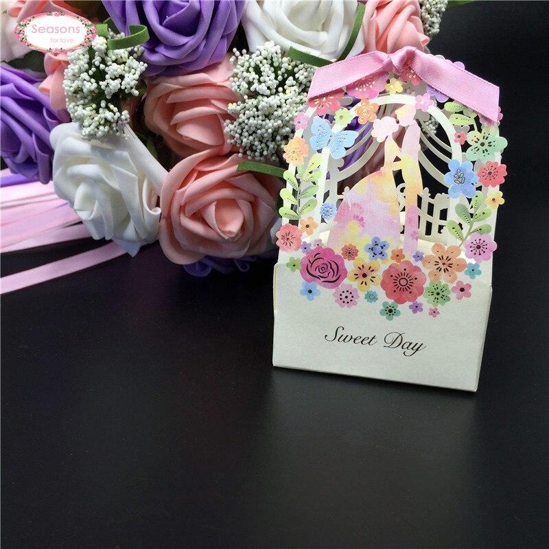 Romantic Wedding Gift For Groom : 10PCS Romantic Laser Cut Flower Vine Bridge Groom Candy Box Wedding ...