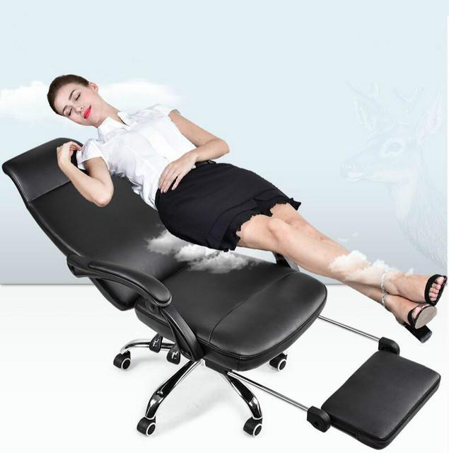 Deitado com pedal de alta qualidade cadeira do computador cadeira giratória assento de couro moda casa cadeira de chefe do escritório