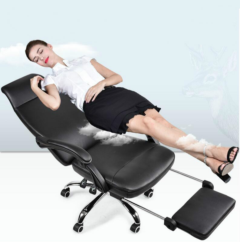 High quality computer chair lying with pedal chair swivel seat leather fashion household boss office chair high quality boss chair home computer chair pu office swivel chair seat bow lay staff meeting seat