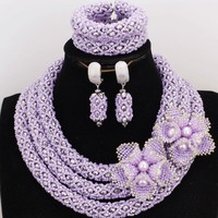 4UJewelry 18.8 Inches Lilac & Silver African Necklace Jewellery Set Crystal Beads Romatic Bridal Jewelry Set For Wedding Bride