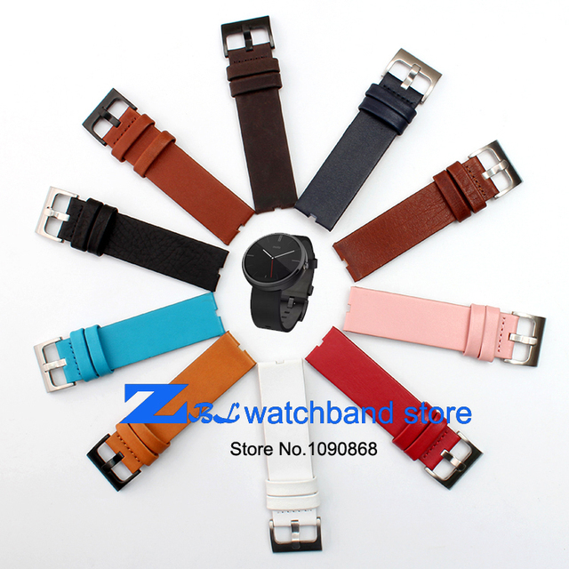 22mm genuine leather watchband wristwatches band for Moto 360 Smart Watch strap+Tool multicolor