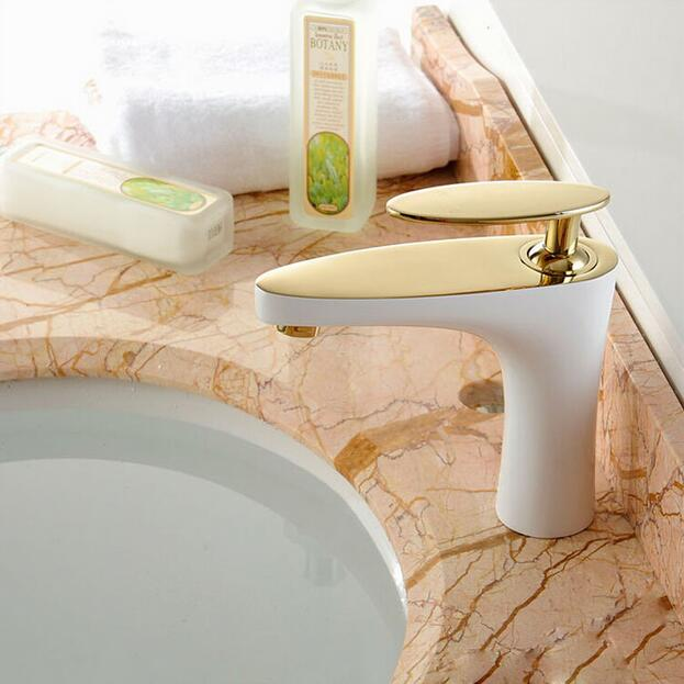fashion top high quality brass material single lever hot and cold white and gold bathroom basin faucet sink mixer fashion high quality good plating total brass material hot and cold single lever bathroom basin mixer sink faucet
