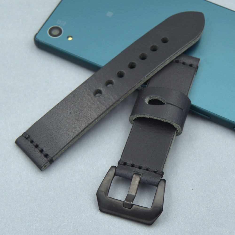 Genuine Leather Watch Straps 20mm 22mm 24mm 26mm Belt Thick black Universal Watchbands Brushed Metal black Buckle Band for PAM zlimsn genuine leather watchbands black brown yellow thick watch band strap belt stainless steel buckle brushed 20 22 24 26mm