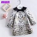 4-14age vestido Da Menina, 2017 primavera leopardo outono impressão high-end longo-manga vestidos de impressão crianças roupas de bebê menina do verão