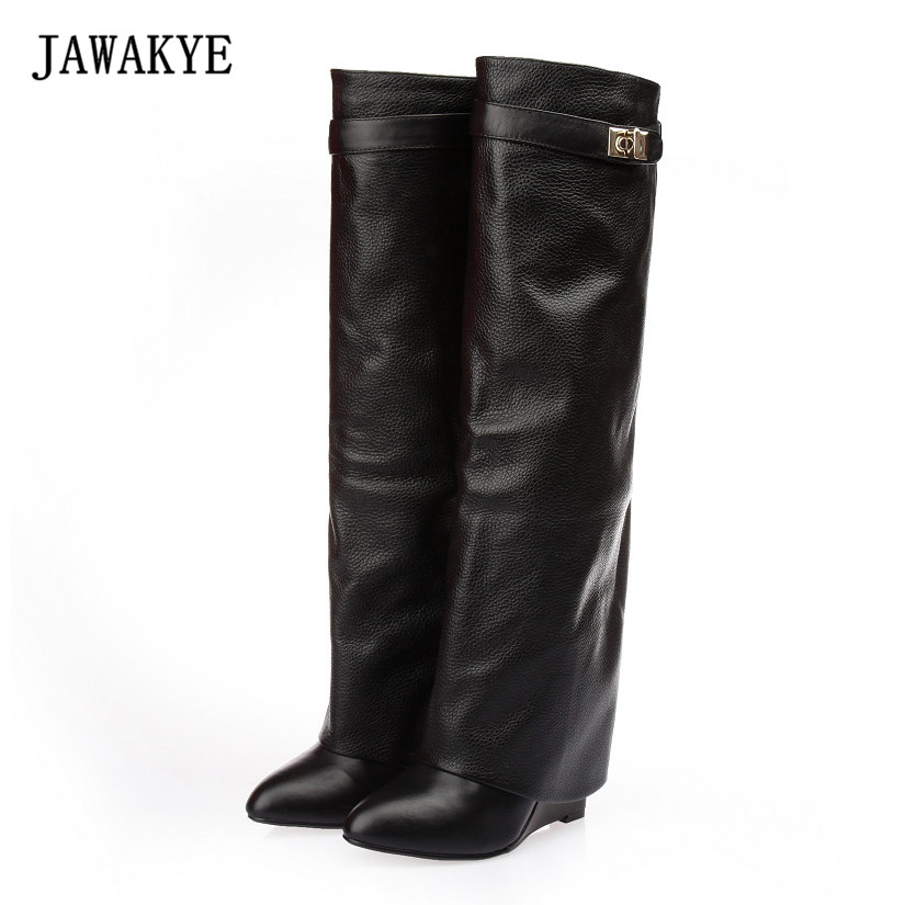 2017 New Leather Long Boots Woman Pointed Toe High Heel Knight Boots Women Belt Strap Metal Shark Lock Wedge Knee High Boots new arrive woman black leather pointed stiletto heel knee high boots rivets beading high heel woman knee high boot long boots