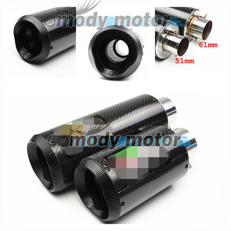 Universal real Carbon Fiber 51mm 61mm Motorcycle Exhaust Muffler Pipe Escape Akrapovic Exhaust Fit for Most motorcycle GSXR CBR