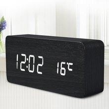 New Digital LED Alarm Clock Sound Control LED Wooden Alarm Despertador Clock USB/AAA Powered Desktop Alarm Temperature Display