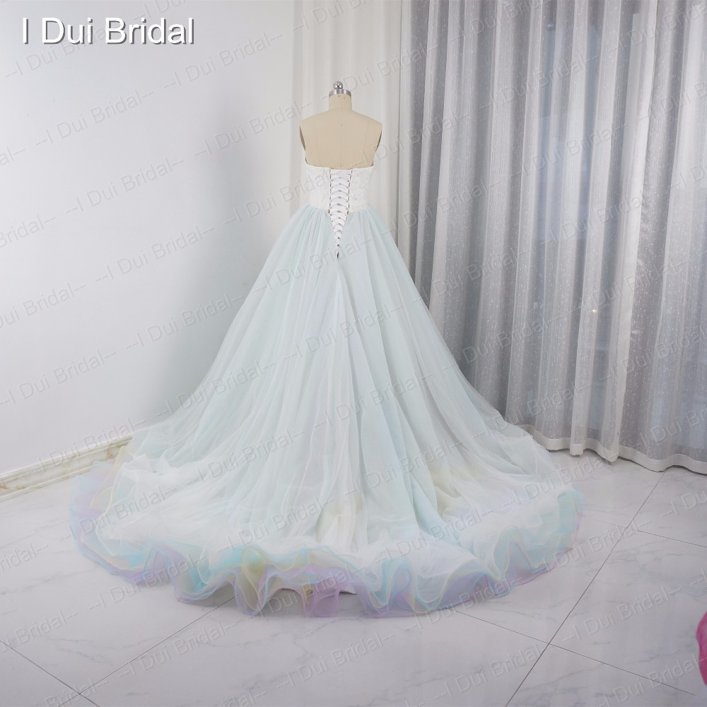 Tulle Blue Pink Colorful Wedding Dresses Real Photo Bridal Gown ...