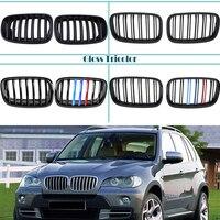 Carbon Fiber/Black Front Bumper Racing Grills Kidney Grilles For BMW E70 E71 X5 X6 2007 2014 M Power Performance Accessories